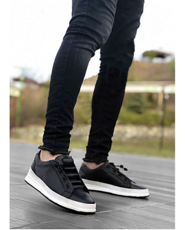 Boy Uzatan Ayakkabı Spor Model Siyah Renk Beyaz Taban