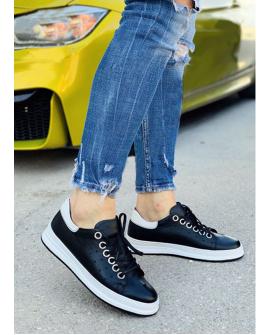 Boy Uzatan Ayakkabı Hakiki Deri Spor Model Beyaz Taban