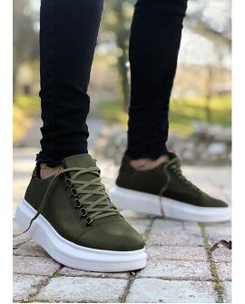 Boy Uzatan Ayakkabı Deri Yeşil Renk  Spor Model