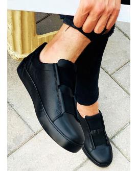 Boy Uzatan Ayakkabı Deri Siyah  Spor Model