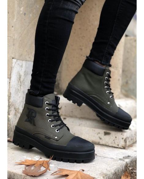 Boy Uzatan Spor Ayakkabı Koyu Yeşil + 7 Cm.