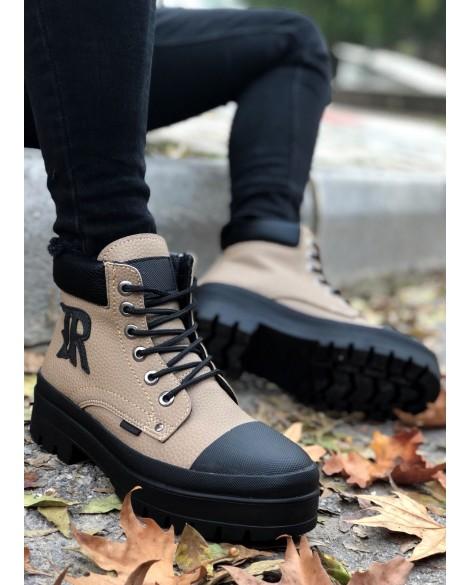 Boy Uzatan Spor Ayakkabı Açık kahverengi + 7 Cm.