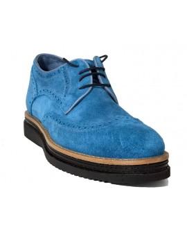 Gök Mavisi Hakiki Süet Yazlık Boy Uzatan Ayakkabı