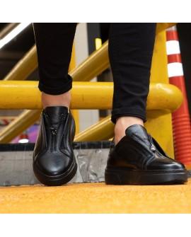 Boy Uzatan Ayakkabı Deri Siyah Renk  Spor Model