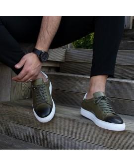 Boy Uzatan Ayakkabı Deri Haki Renk Spor Model