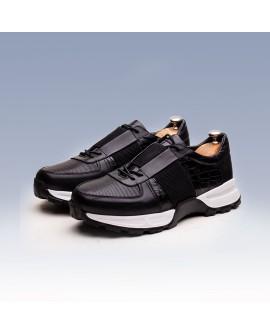 Boy Uzatan Ayakkabı  Siyah Komple Deri
