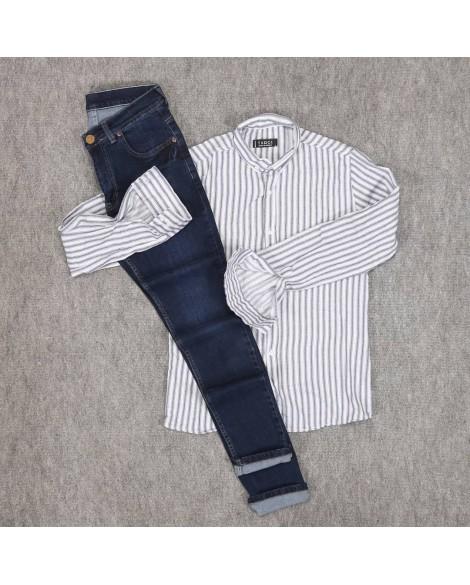 Çizgili Gömlek Kot Pantolon Erkek Kombini