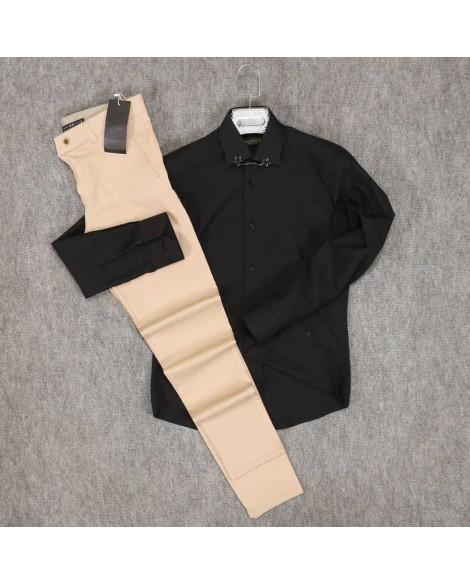 Siyah Gömlek Koyu Krem Rengi Pantolon Erkek Kombini