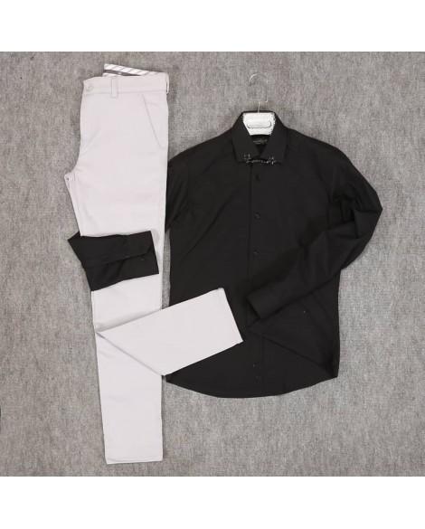 Siyah Gömlek Kirli Beyaz Pantolon Erkek Kombini