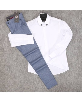 Beyaz Gömlek Mavi Pantolon Erkek Kombini