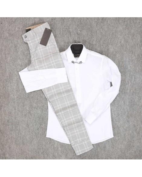 Beyaz Gömlek Açık Gri Pantolon Erkek Kombini