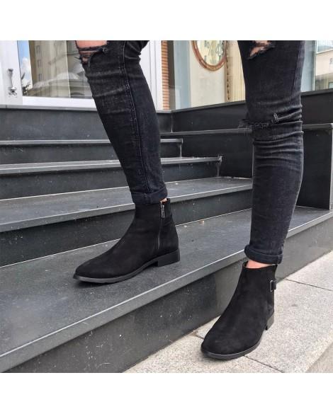 Boy Uzatan Ayakkabı  Kışlık Bot Siyah Nubuk