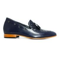 Özel Örme Deri Lacivert Gizli Topuk Ayakkabı